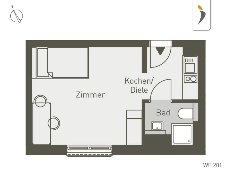 Studio Living Frankfurt F.1 | WE201 | 1-Zi. | 22 m²