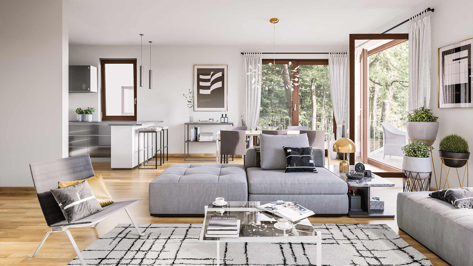 Open living space with floor-length windows and sophisticated furnishings