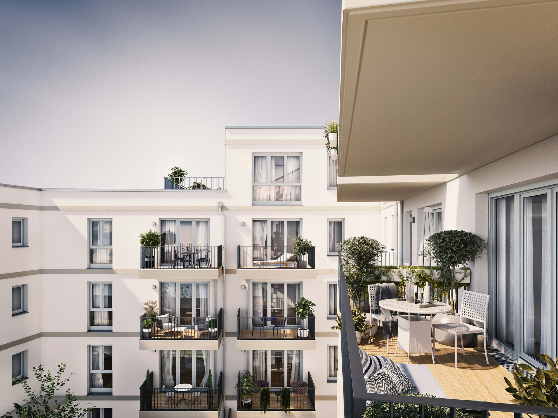 Airy balconies and an exclusive roof terrace with a view into the inner courtyard