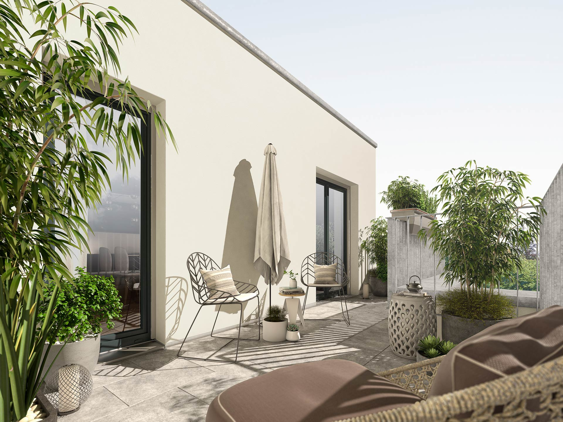 Exclusive roof terraces with clear views into the sky over the rooftops of your neighbourhood