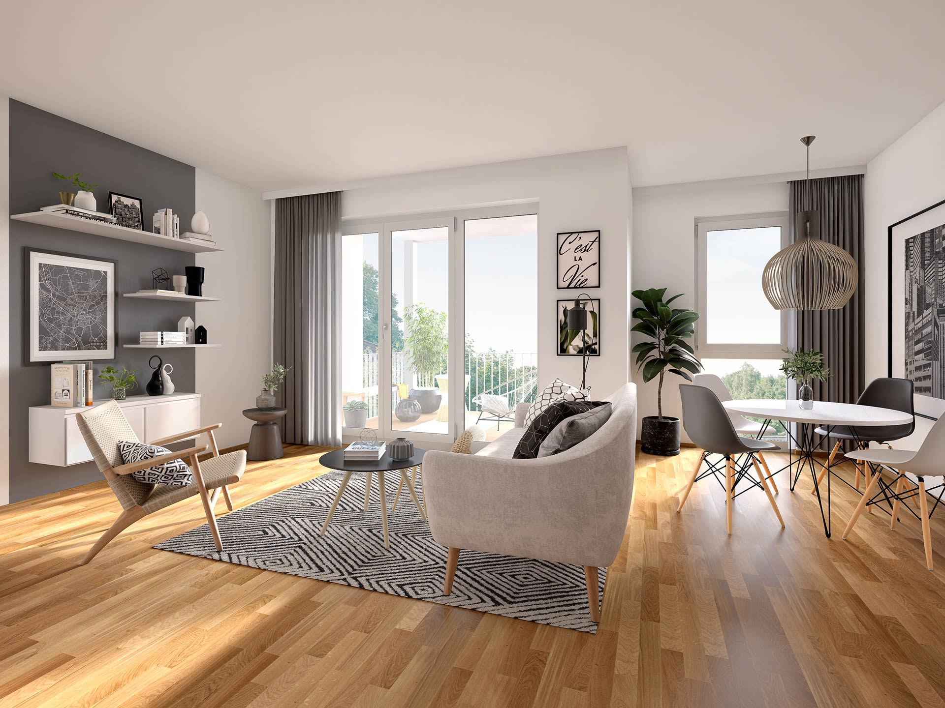 Bright rooms with spacious floor plans and high-quality furnishings