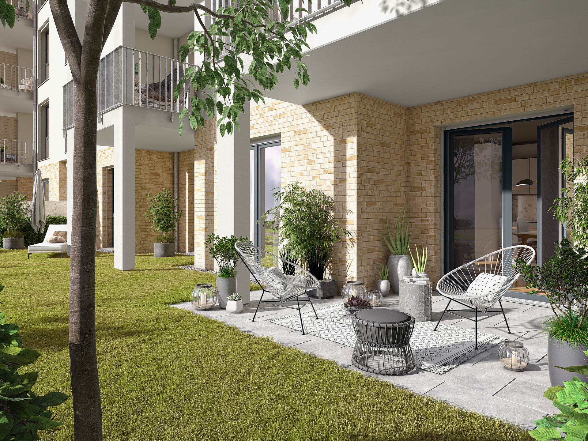 Your very own green space thanks to a terrace with a private garden