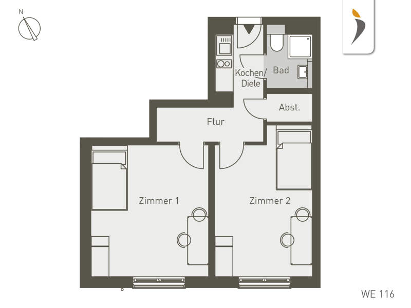 Studio Living Frankfurt F.1 | WE116 | 45 m²